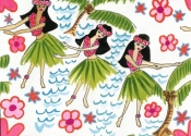 Three girls dancing bright flowers